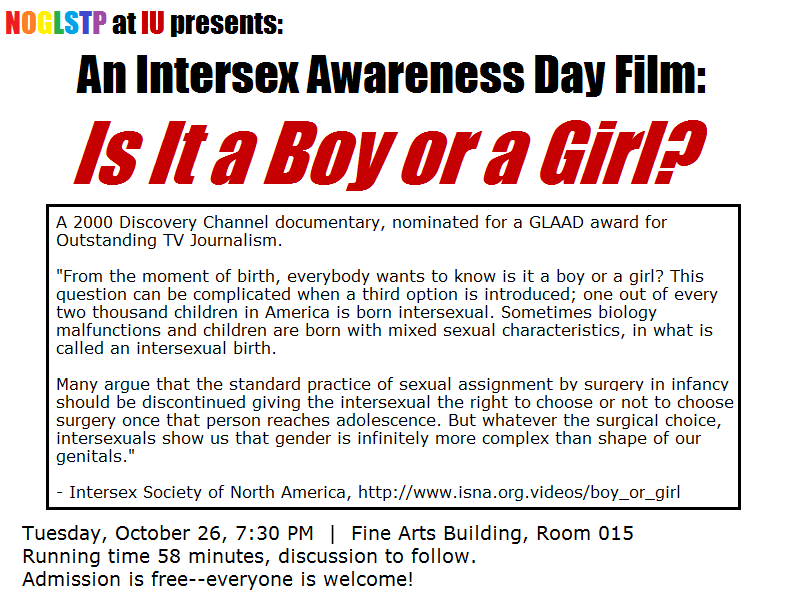 INTERSEX AWARENESS DAY is Tuesday (10/26). Click here for more ...